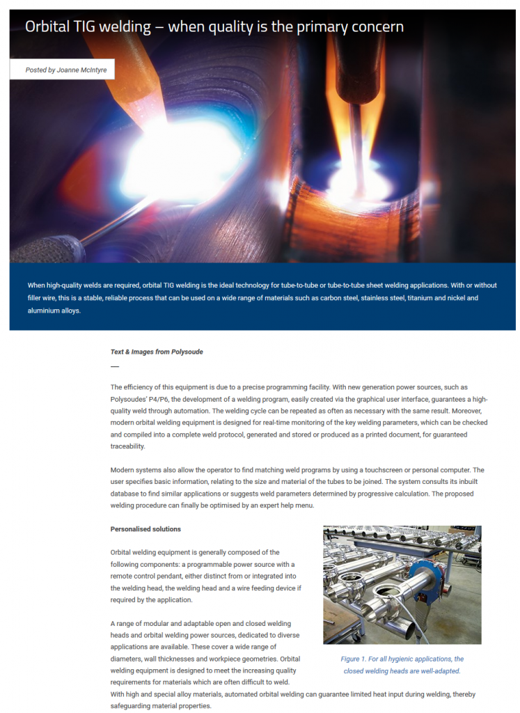 Orbital TIG welding – when quality is the primary concern(2)